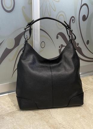 Сумка мягкая кожаная итальянская чёрная сумка сумка жіноча шкіряна чорна сумка м'яка