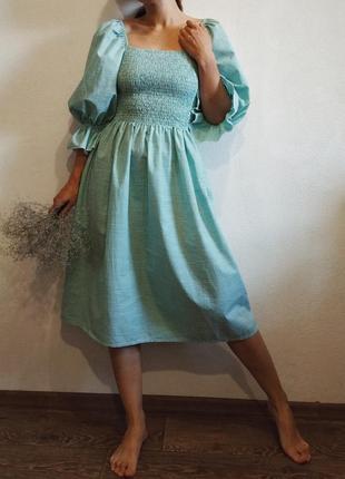 Платье в клетку зеленое хлопок на резинке объемные рукава боварский стиль миди