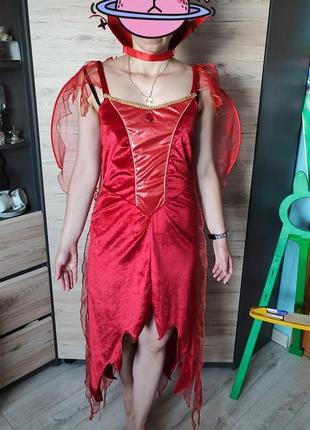 Женский костюм, платье аниматора дракулита, ведьма, смерть, дьяволица, s-m