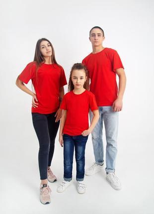 Футболка базова для дівчинки 116 122 128 134 140 146 152 158 в кольорах (червона)