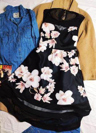 Quiz платье чёрное в белый цветочный принт с сеточкой ассиметрия большое батал