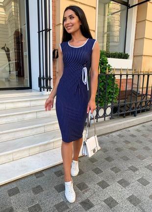 Платье женское летнее миди до колена легкое повседневное в полосочку