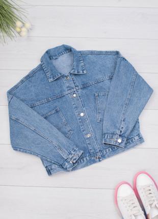 Женская джинсовая куртка с принтом на спине/размеры: xl, 2xl, 3xl