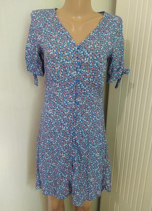 Легкое мини платье халат цветочный принт
