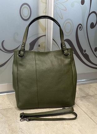 Сумка оливковая кожаная зелёная сумка женская мягкая сумка а4 сумка шкіряна зелена