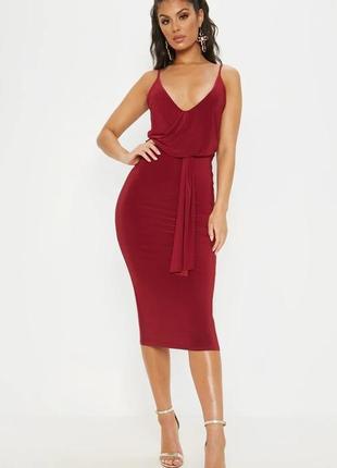 Pretty little thing платье бордо бордовое марсала бургунди винное миди по фигуре новое на бретельках