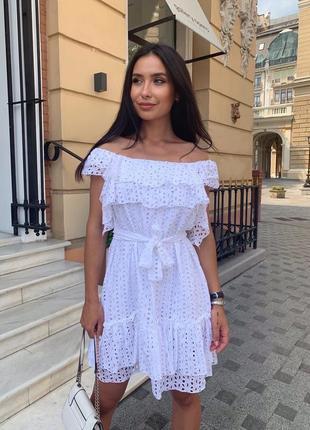 Платье женское летнее мини легкое нарядное дышащее легкое белое