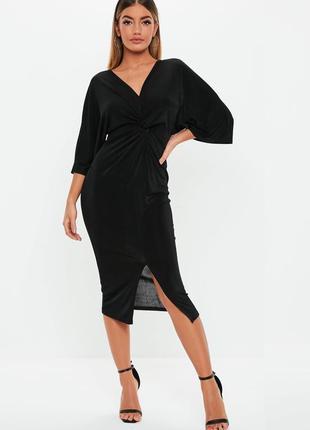 Missguided платье чёрное миди с вырезом спереди имитация пояса базовое классическое