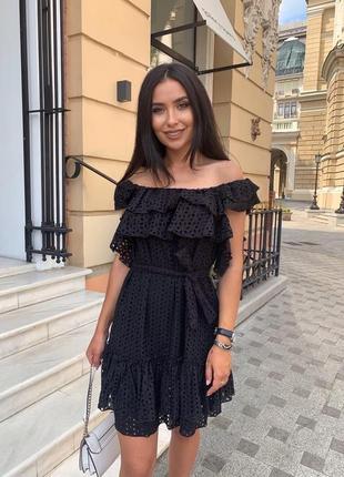 Платье женское летнее мини легкое нарядное дышащее легкое черное