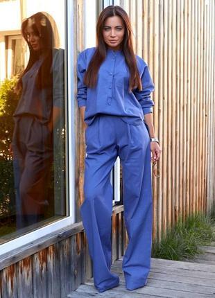 Льняной брючный женский костюм двойка (рубашка и брюки), лен, цвет - синий