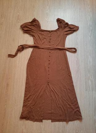 Платье нюд рукава фонарики asos