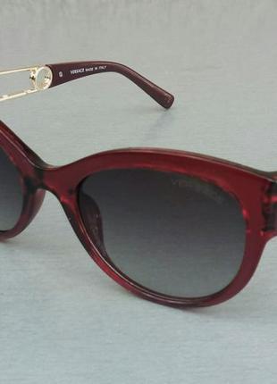 Versace стильные женские солнцезащитные очки серый градиент в бопдовой оправе