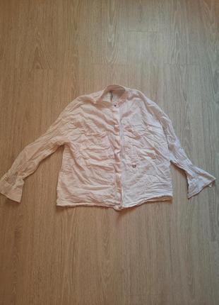 Рубашка белая stradivarius кроп топ батал из натуральной ткани