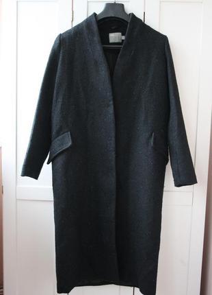 Осеннее бойфренд пальто asos тёмно-синего цвета. в составе шерсть