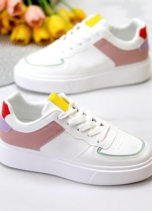 Повседневные, белые кроссовки из экокожи