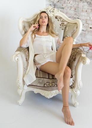 Пижама и пеньюар с кружевом, комплект утро невесты, халат белый, майка и шорты из шелка, ніжна піжама