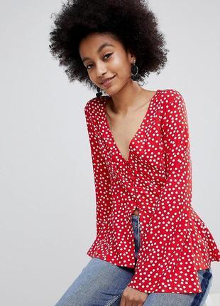 1+1=3 стильная легкая блуза в горошек