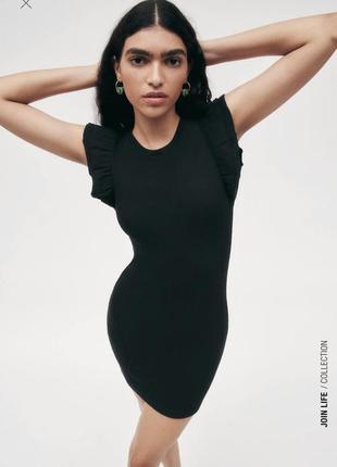 Чёрное мини платье zara