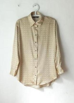 Zara basic шикарная сатиновая рубашка  м