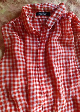 Легкая  блуза в клетку mango