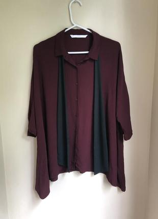 Бордовая вискозная блуза оверсайз с бантом прямого кроя блузка