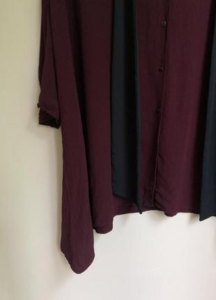 Бордовая вискозная блуза оверсайз с бантом прямого кроя блузка4 фото