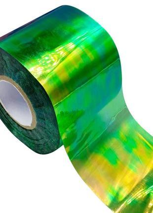Голографическая фольга с эффектом «битое стекло» зеленая