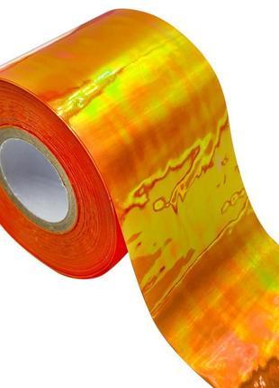 Голографическая фольга с эффектом «битое стекло» оранжевая