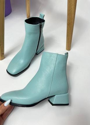 Эксклюзивные ботинки из натуральной итальянской кожи и замша мята бирюза