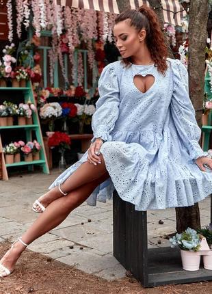 Голубое платье с вырезом в виде сердца, нарядное платье а-силуэта