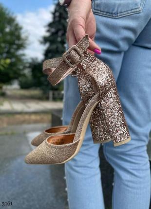 Женские босоножки туфли на высоком каблуке золото