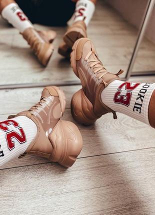 Стильные бежевые женские кроссовки. карамельные кроссовки.