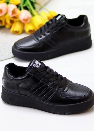 Стильные, черные кроссовки из натуральной кожи