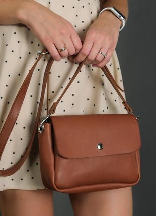 Женская сумка кросс-боди из натуральной кожи итальянский краст коричневая