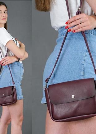 Женская сумка кросс-боди из натуральной кожи итальянский краст бордовая