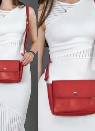 Женская сумка кросс-боди из натуральной кожи итальянский краст красная