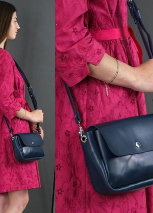 Женская сумка кросс-боди из натуральной кожи итальянский краст синяя