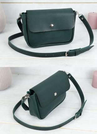 Женская сумка кросс-боди из натуральной кожи итальянский краст зеленая