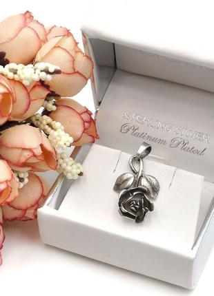 Винтажный кулон из серебра в виде розы