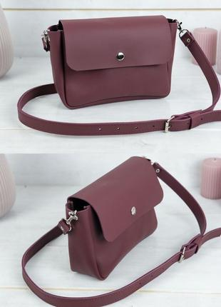 Женская сумка кросс-боди из натуральной кожи гранд бордовая
