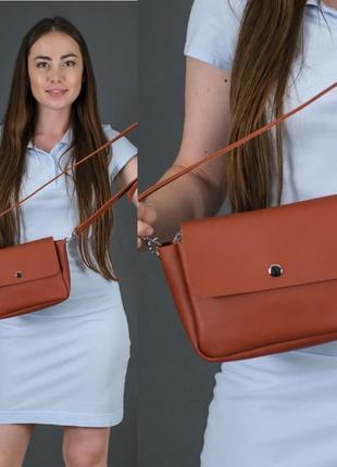 Женская сумка кросс-боди из натуральной кожи гранд цвета коньяк