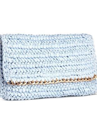 Клатч соломенный h&m  голубой, сумка, косметичка