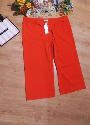 Мегакрутезні кюлоти з пояском великий розмір штани широкие, брюки новие етикетка оранжевие