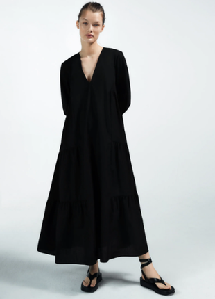 Платье zara с объемными рукавами длинное свободное черное платье миди зара
