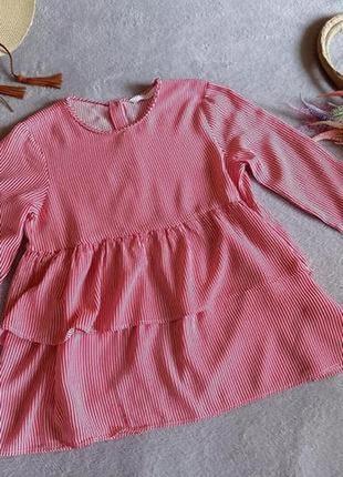 Блуза в полоску с воланами зара zara