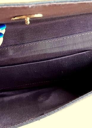 Женский клатч, из перфорированной кожи. цвет  темный шоколад . италия. винтаж.7 фото