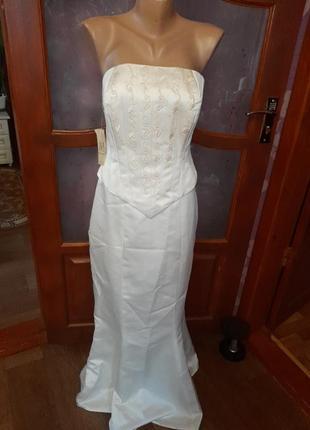 Костюм свадебный вечернее праздничное платье на корсете  цвета айвори новое с биркой