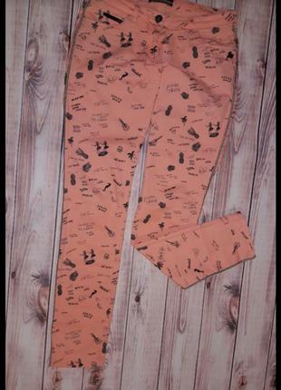 Катоновые штаны персикового цвета в тропический принт maison scotch