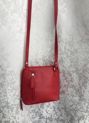 Кожаная красная сумка кросс боди через плечо nika