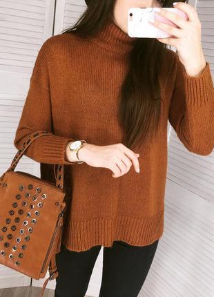 Крутейший кирпичный свитер с горловиной!